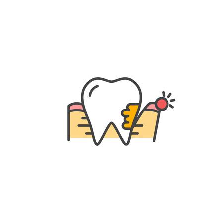 Pedontitis icono. Enfermedad de las encías dolor Muestra del vector del diente. Ilustración de vector