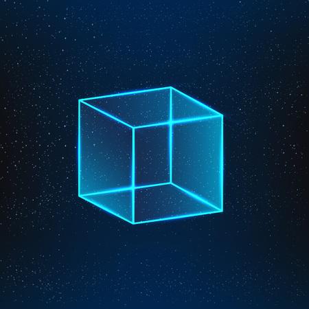 aloft: Blue glass cube. Geometric object 3d vector cube.