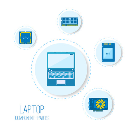 gb: Computer icons. Laptop components parts.