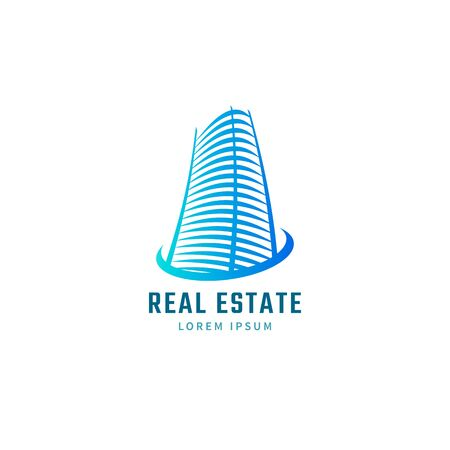 house building: Blue real estate template. House icon. Rise building sign. Illustration