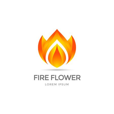 fire flower: Fire flower template. Flower symbol stylized fire.