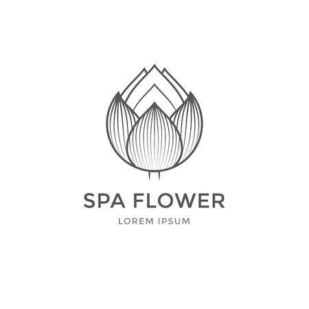 spa salon: Spa template. Design flower for beauty salon lotus icon. Illustration