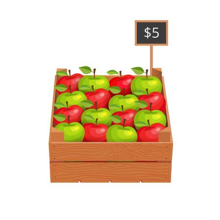 Houten doos met rijpe appelen Stock Illustratie