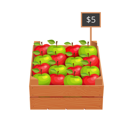 Wooden box with ripe apples