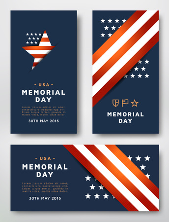 national colors: Memorial Day cards design template. Cards designed in the American national colors.