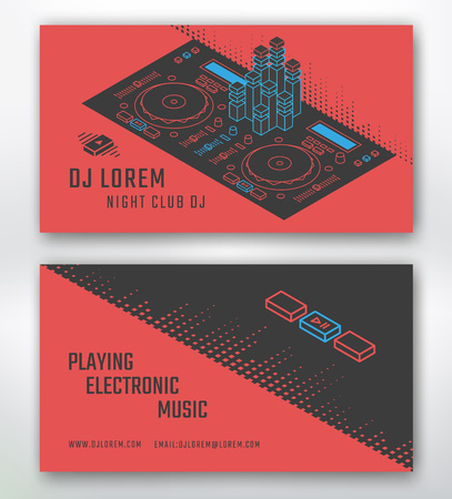 fiestas electronicas: Tarjeta de visita para DJ o estudio de música, club nocturno.