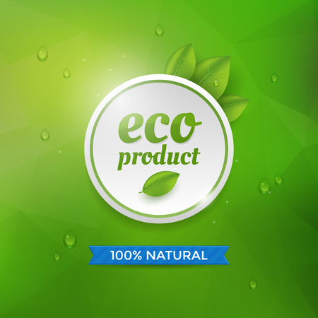 circle icon: Eco product label on green background with drops. Eco product circle icon.