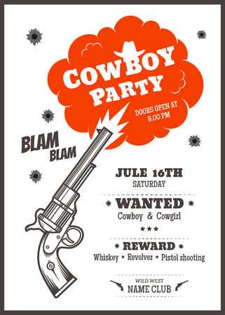 poster design: Cowboy party poster design template with revolver