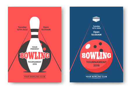 Bowling tournament poster template.  イラスト・ベクター素材