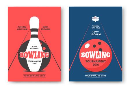 Bowling toernooi poster sjabloon. Stock Illustratie
