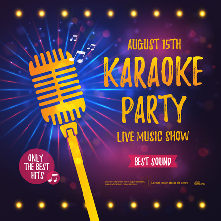 retro microphone: Karaoke party banner with microphone.