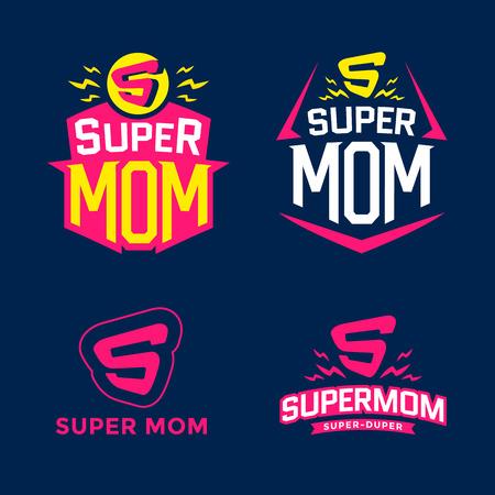 supermom: Super mom emblem. Illustration
