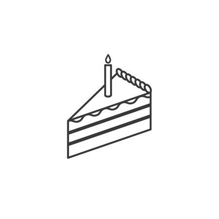 cake slice: Cake slice line icon with candle.