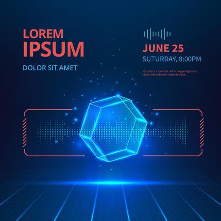 Futuristic banner with hologram geometric shape.