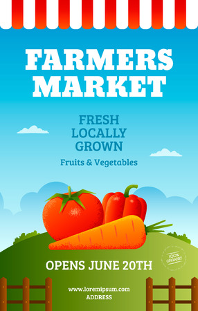 Farmers market poster template with vegetables. Fresh farm banner design.