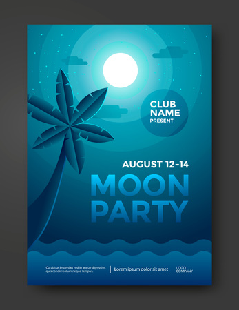 Moon beach party poster design. Moonlight night and palm.