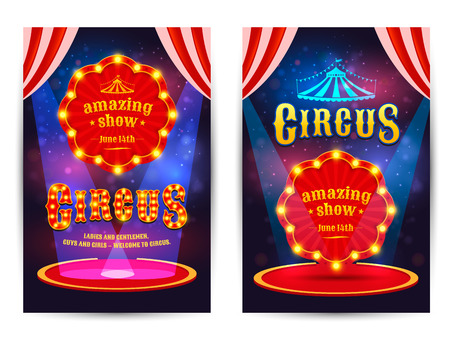 Circus amazing show poster template with light frame. Circus arena.