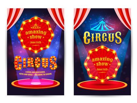 Circus geweldige show poster sjabloon met licht frame. Circus arena.