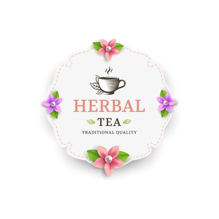 herbal: Herbal tea label with flowers and tea cup Illustration