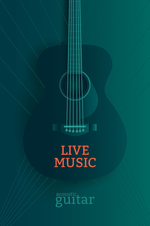 lead guitar: Live music poster design template. Acoustic guitar illustration. Illustration