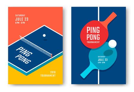탁구 포스터 디자인. 테이블 테니스 용 테이블 및 라켓.