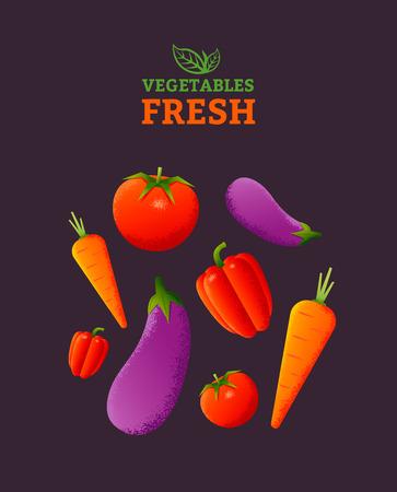 naturally: Fresh vegetables poster template. Vegetarian food.