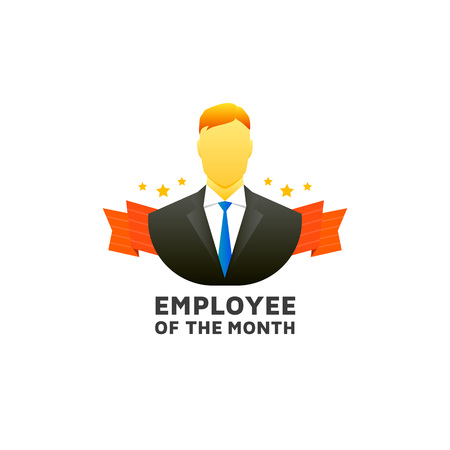 month: Employee of the month label design. Illustration