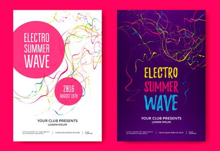 Electron summer wave music poster. 일러스트