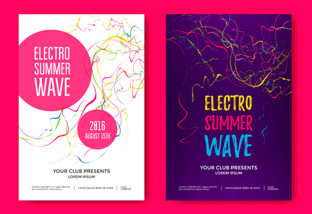 Electron summer wave music poster. Vettoriali