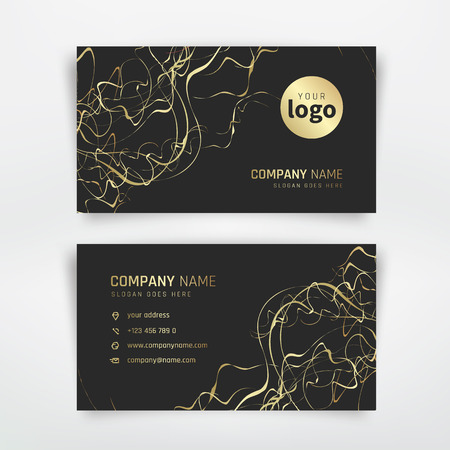 Business card with gold abstract curly line Illustration
