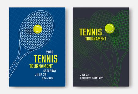 Tennistoernooi poster ontwerp met racket en bal