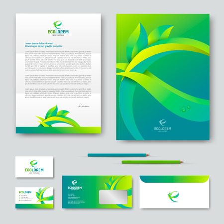 Eco corporate identity template design with letter E.