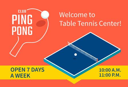 Diseño de la bandera del centro de tenis de mesa Foto de archivo - 61841535