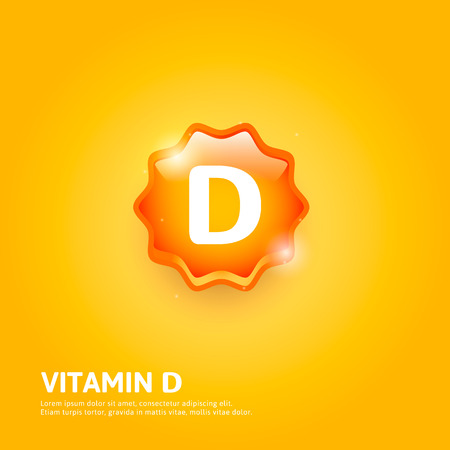 vitamins: Vitamin D glossy label or icon. Illustration