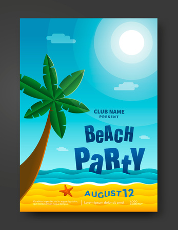 party design: Summer beach party poster design template.