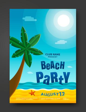 beach party: Summer beach party poster design template.
