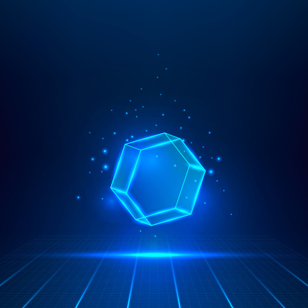 aloft: Blue glass hexagon. Geometric object floating in the air.