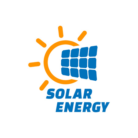 Solar energy logo or icon. Vector solar panel sign.