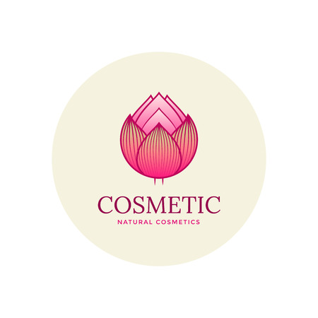 beauty shop: Lotus flower cosmetic  template. sign for beauty shop. Illustration