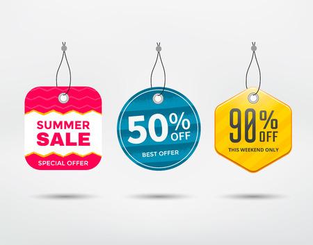 discount tag: Sale tag set. Label discount different shapes. Illustration