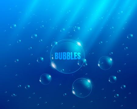 Blasen im Wasser Hintergrund mit Lichtstrahlen