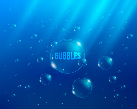 water bubbles: Bubbles in water  background with rays of light