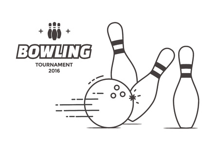 skittles: Bowling tournament poster. linear style illustration bowling ball and pins.