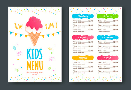 Kids menu template with ice cream.
