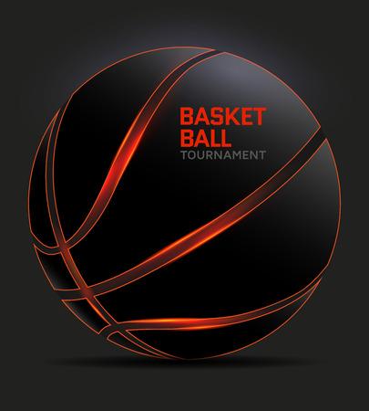 Black basketball with orange glowing lines. illustration