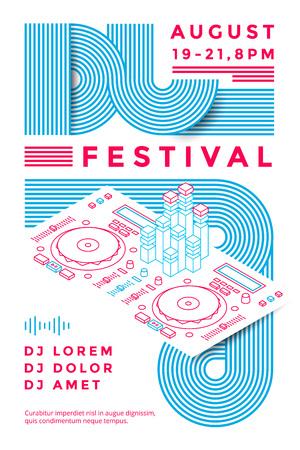 Dj festival poster design template. Music . line illustration Vector Illustration