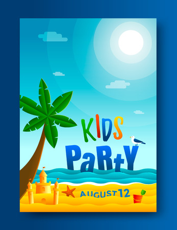 Kids beach party poster template. Seascape illustration
