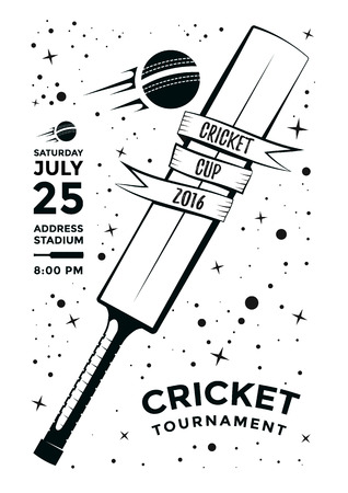 championship: Cricket tournament poster design with bat and ball. template