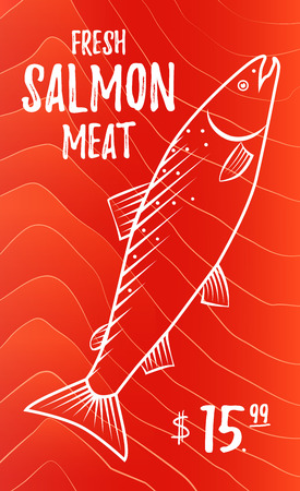 fresh fish: Fresh salmon meat. Fish advertising poster. sllustration