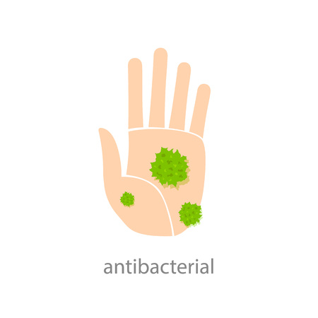 antibacterial: Antibacterial sign. Hand with green bacteria. illustration Illustration